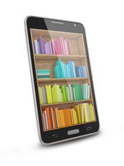 Smart phone - e-book library concept