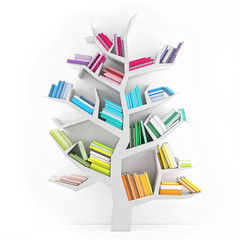 Tree of Knowledge, White Shelf with Multicolor Books Isolated