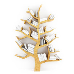 Tree of Knowledge, Wooden Shelf with White Books Isolated