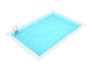 Rectangle Swimming Pool Isolated on White Background