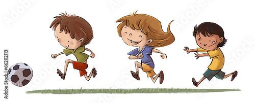 Leinwanddruck Bild niños jugando fútbol