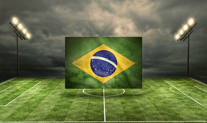 Brasil Flag on Stadium