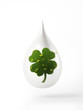 White drop with green four leaf clover isolated on white