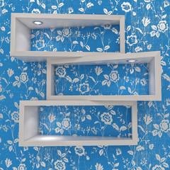 3d white shelfs with lights on blue wallpaper