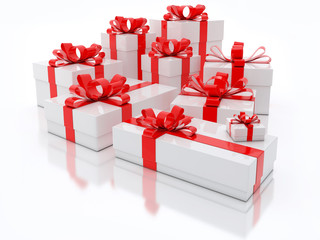 White Gift Boxes Over White Background 3d Illustration