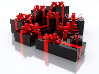 Black Gift Boxes Over White Background 3d Illustration