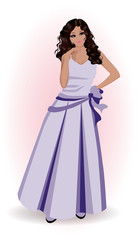 Beautiful woman in violet dress, vector illustration