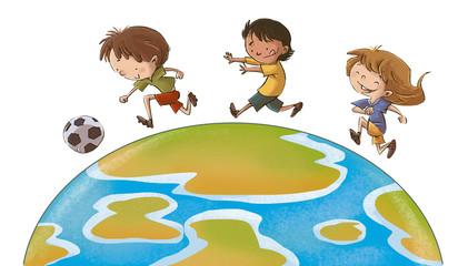 niños jugando fútbol mundial