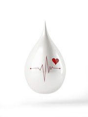 3d White Drop with e.k.g Illustration and heart shape isolated