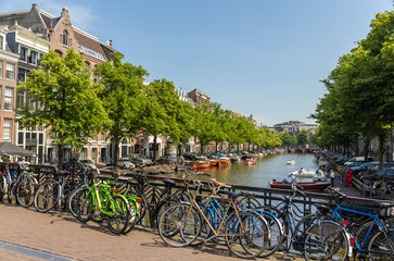 Traditional view of Amsterdam: bicycles and water