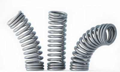 Three Metal Springs Isolated on White Background
