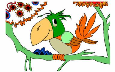 piccolo pappagallo appollaiato su un ramo