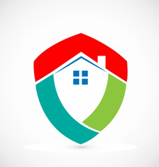 Shield house -Real Estate logo vector