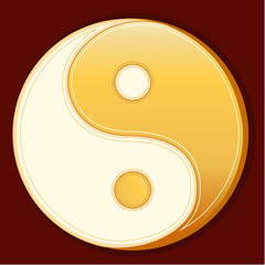 Taoism Symbol, Yin Yang mandala of Tao faith, red background