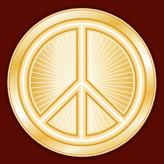 Peace Symbol, international peace on earth, crimson background