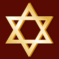 Judaism Symbol, golden Star of David, icon of Jewish faith