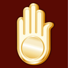Jain Symbol, gold Ahimsa icon of the faith, crimson background