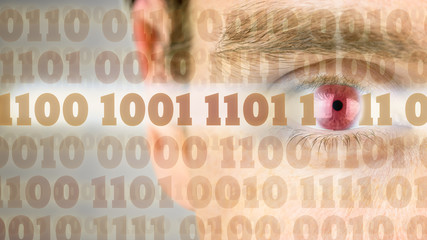 Binary code with human eye