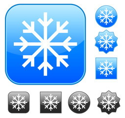Snowflake symbol on different icon backgrounds vector illustrati