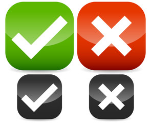 Green, red check mark, cross symbols on rounded rectangle icons.