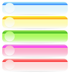 Light, Bright buttons, banner shapes with circles. Abstract desi