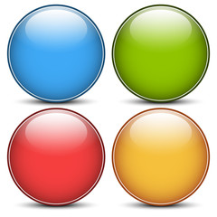 Stylized, glossy blank vector spheres, circles