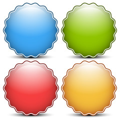 Glossy, shiny empty, blank badge set