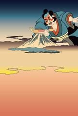国芳 朝比奈大人形と歌川広重する賀てふのイメージイラスト