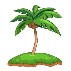 Coconut palm tree isolated illustration
