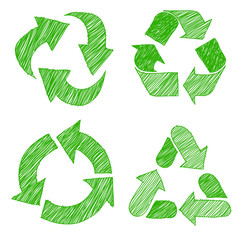 Illustration of recycle doodle icons  sketch vector