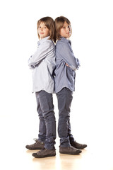 Twin brothers posing on white background