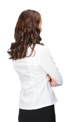 Businesswoman looking at something in her back