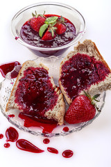Homemade organic strawberry jam on wholemeal bread
