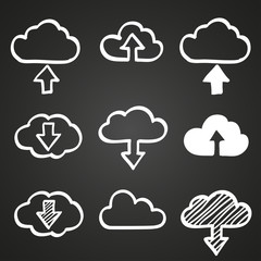 Hand draw doodle cloud shapes collection. Icons for computing