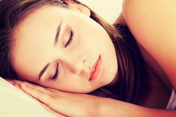 Young beautiful woman sleeping