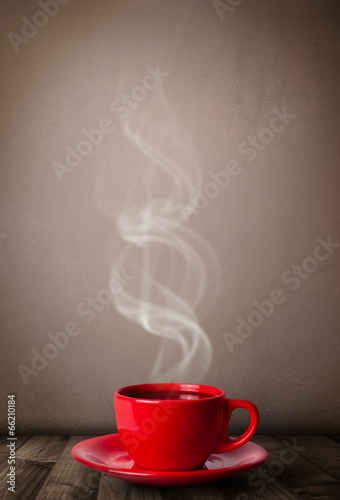 Plexiglas Thee Coffee cup with abstract white steam