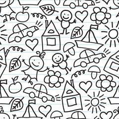 Children's drawings. Doodle background