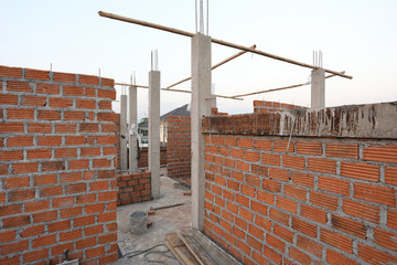 Wall brick of building construction house