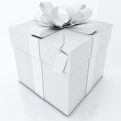 White Gift Box on White Background