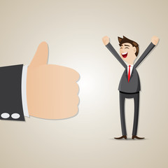 cartoon happy businessman with thumb up