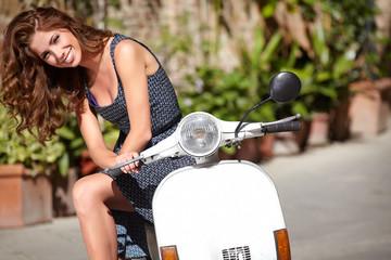 Beautiful woman in Tuscany street