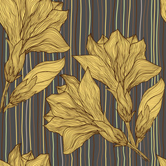 Vector hand drawn seamless pattern - vintage flower