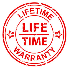 LIFETIME WARRANTY on grunge red stamp