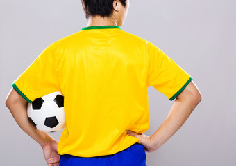 Back view of man hold soccer ball