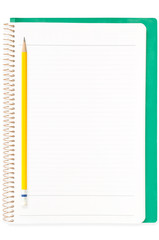 The yellow pencil on the green cover ring binder notebook
