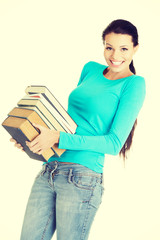 Young caucasian woman student with books