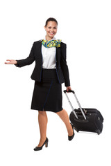 stewardess with luggage bags after the flight