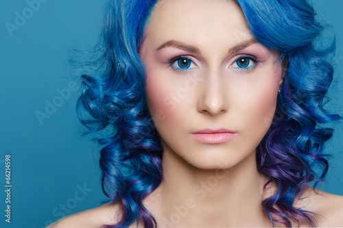 canvas print picture hair, blue, woman