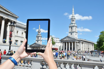 Church of Saint Martin on the screen of a tablet pc. Trafalgar