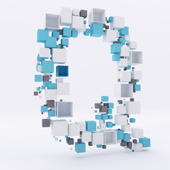 3D letter Q build out of cubes